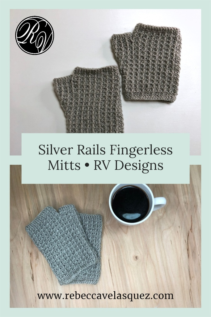 Fingerless mitts on table next to coffee mug