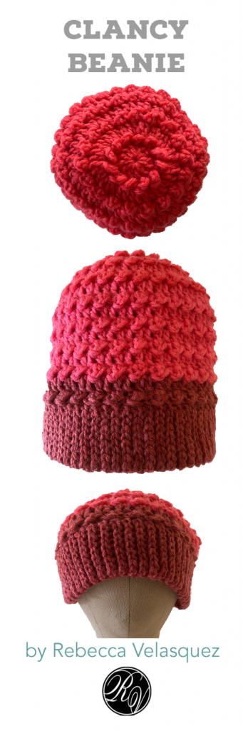 Clancy Orange and Red Crochet Beanie on a head form Pinterest Pin