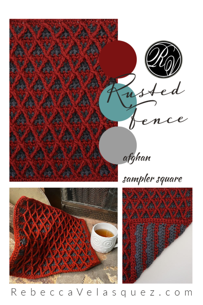 Rusted Fence Afghan Sampler Square in red and grey in a collage of photos
