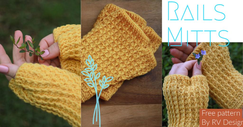 Rails Mitts: various photos of yellow crochet fingerless mitts