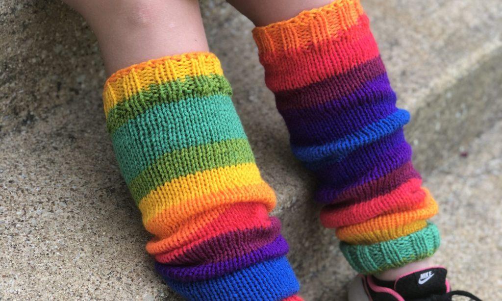 rainbow colored leg warmers