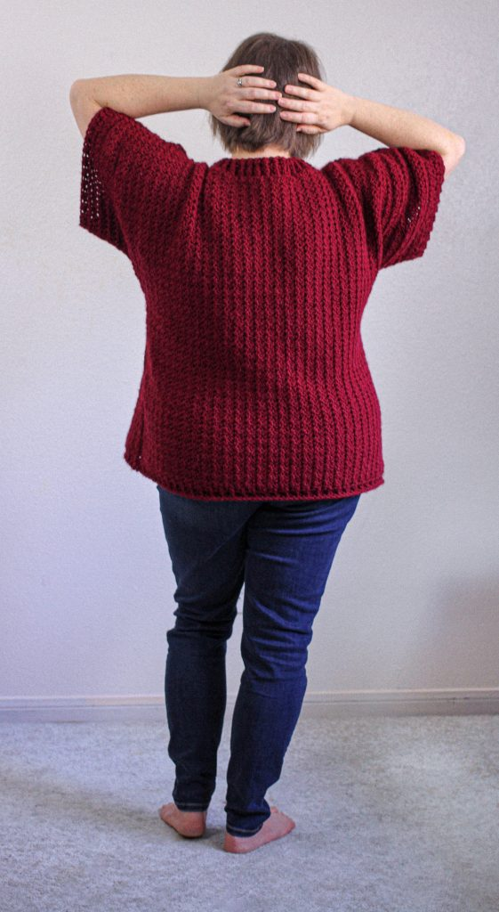 Keck Sweater, free easy spring/fall crochet sweater pattern ~FREE~. -by Rebecca Velasquez RVdesigns #kecksweater #crochetpattern #rvdesigns #freepattern #crochetsweaterpattern