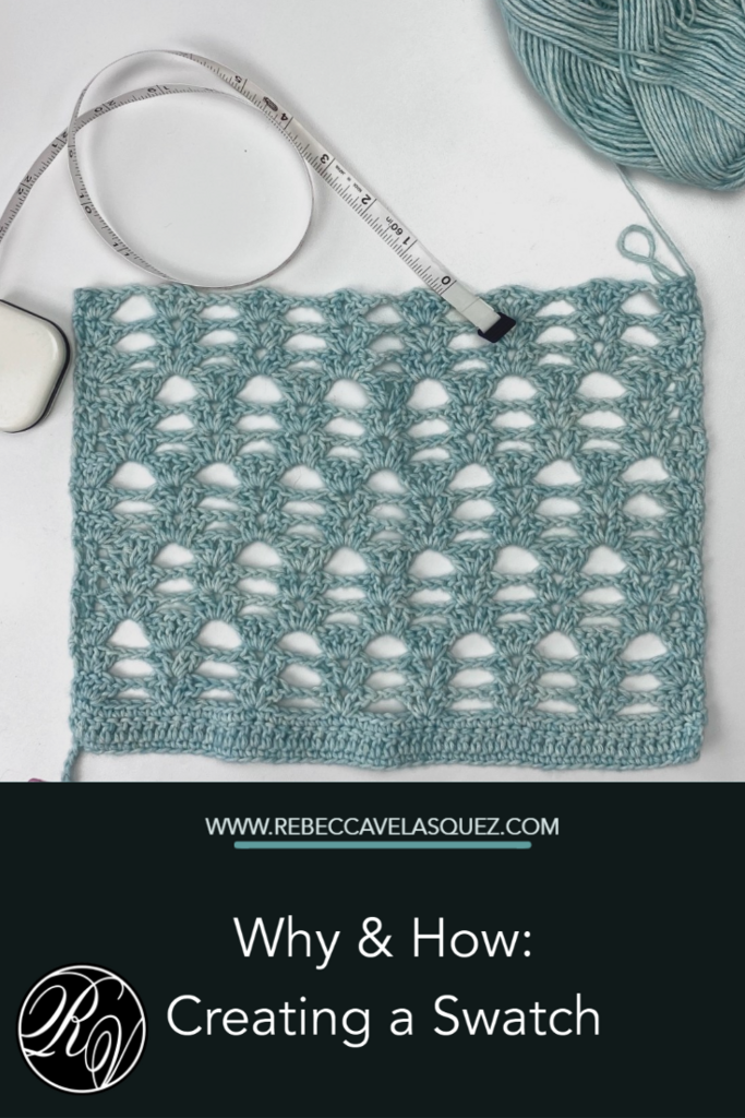 Why and how: create and block a gauge swatch for crochet and knit projects. pinterest image, showing a blocked swatch with a measuring tape