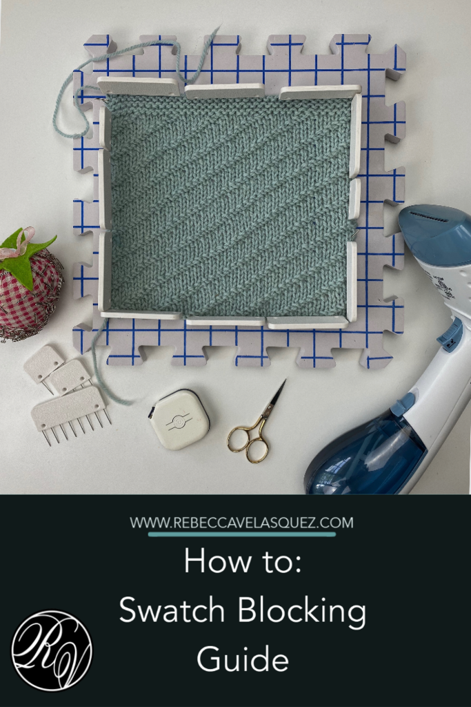 How to Swatch Blocking Guide. Image of blocking board, scissors, and steamer.