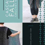 """Photo graphic in 4 parts, teal back ground with text """"Cascade Falls Crochet Pattern"""", lower half of woman's body in short pants, tennis shoes and crocheted vest with long fronts, upper half of woman's body with arm holding out a front portion of vest to display shaping, grey graphic box with web address RebeccaVelasquez.com"""