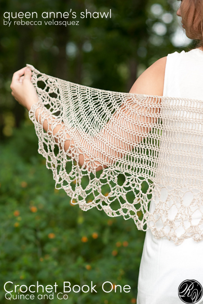 lady wearing white dress and whit crochet shawl, queen anne's shawl