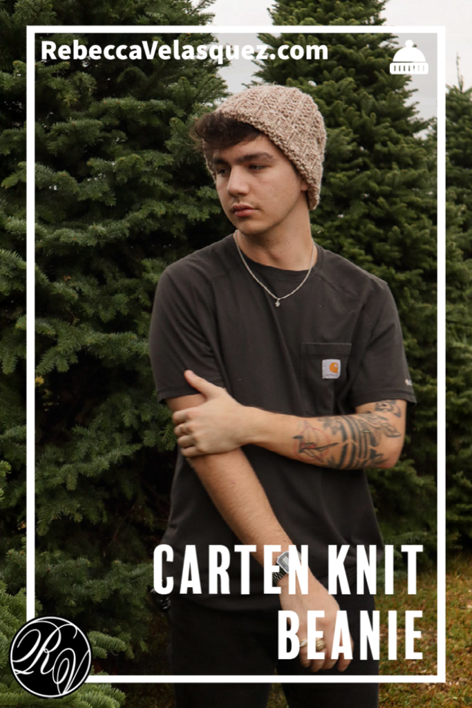 Man wearing Carten a tan knit hat