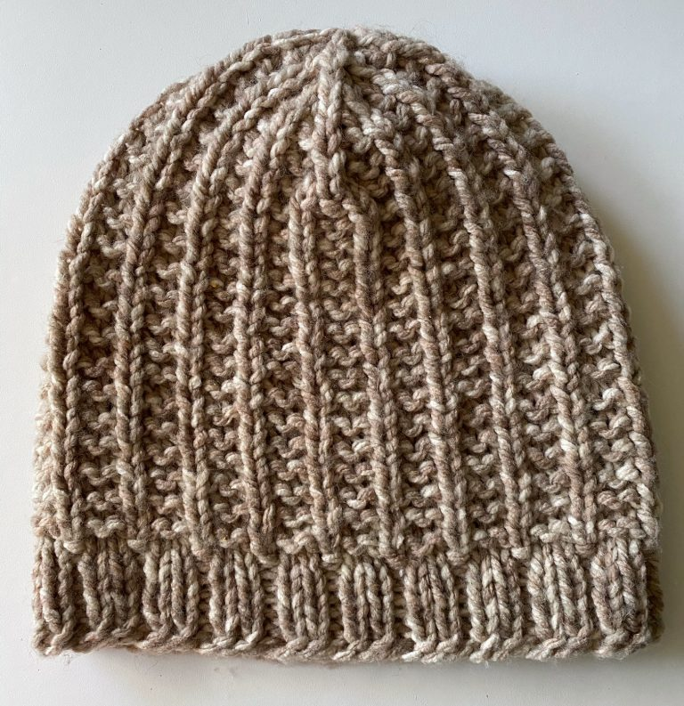 knit beanie tan in color